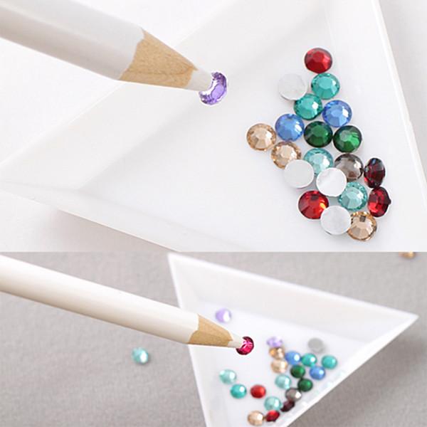 1pcs 175mm Dotting Pen White Color Nail Art Rhinestones Gems Picking Crystal Tools Pencil Picker Diy