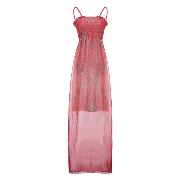 Women Straps Chiffon Long Dress Sexy Flora Maxi Dresses