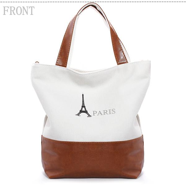 Women Retro Classic PARIS Eiffel Tower Print Canvas Handbag Shoulder Bag