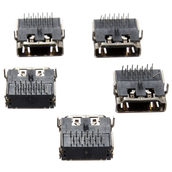 5Pcs HDMI Female 90 DIP 3 Row 19pins Socket PCB Soldering