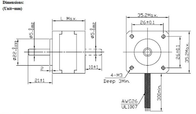 JKM NEMA14 1.8°35 Hybrid Stepper Motor Two Phase 28mm