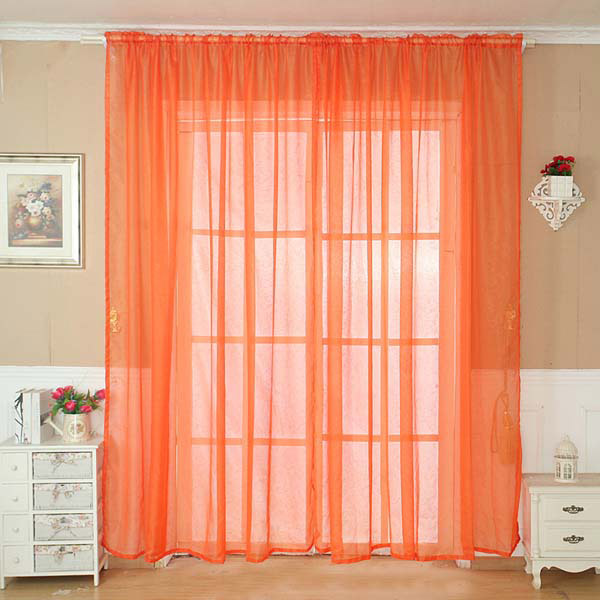 100x200cm Pure Color Tulle Window Curtain Balcony Bedroom