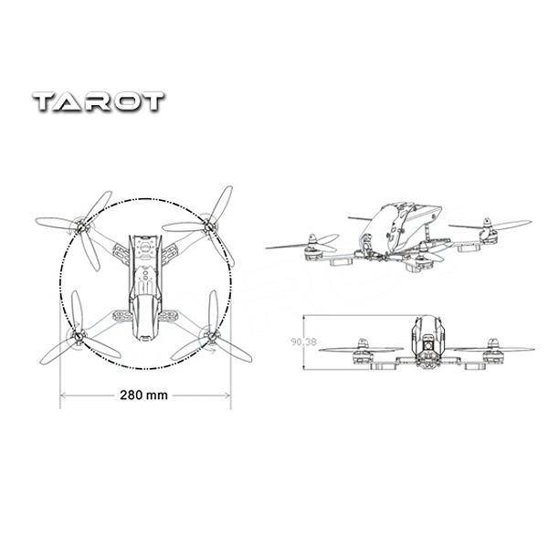 Tarot TL280H 280mm Semi-carbon FPV Racer Frame Kit For