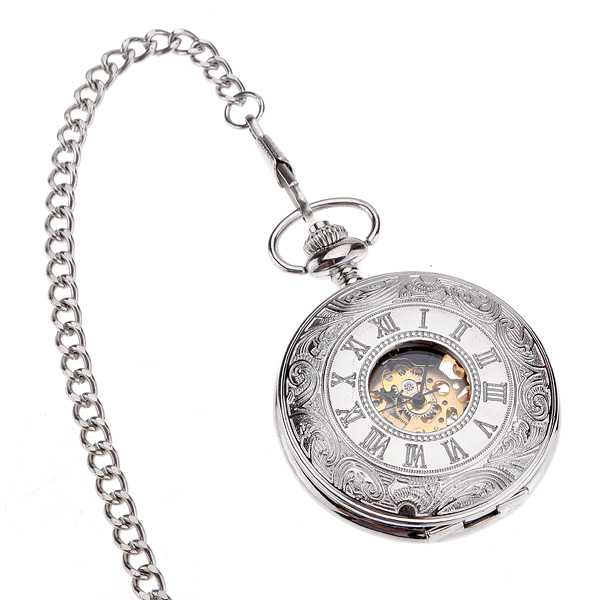 Silver Antique Style Roman Dial Mechanical Pocket Watch