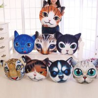 Creative Funny 3D Dog Cat Head Pillow PP Cotton Simulation ...