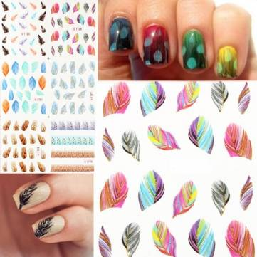 Glitter Leopard Pea Feather Nail Art Stickers Cat Decals