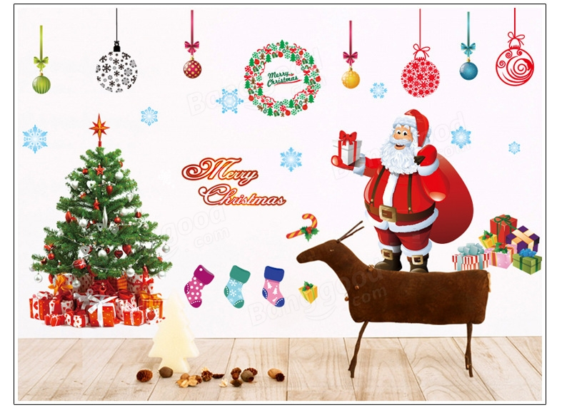 Christmas Santa Claus Gift Removable Wall Sticker DIY