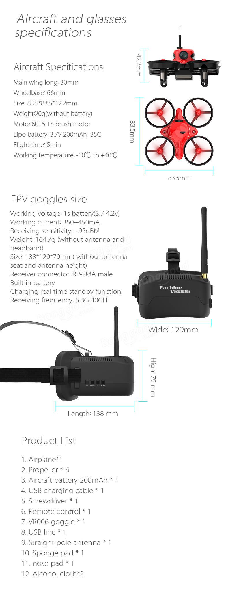 Eachine E013 Micro FPV RC Drone Quadcopter With 5.8G