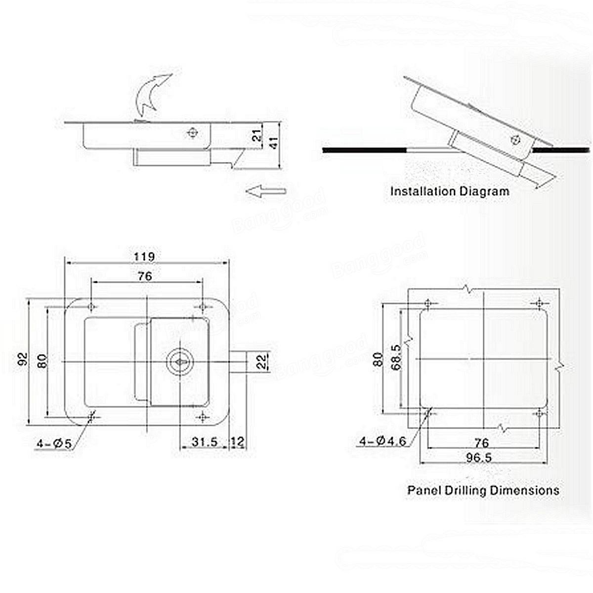 2Pcs Stainless Steel Paddle Door Lock Handle Truck Box