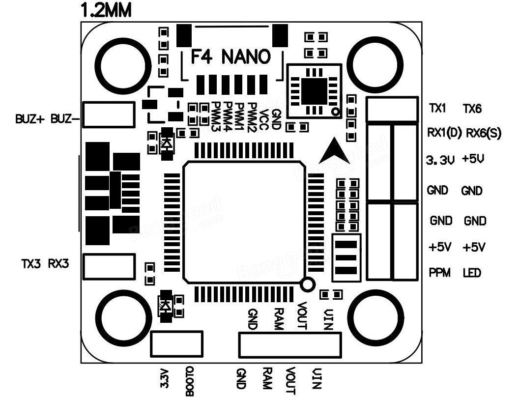 Omnibus F4 NANO 2-4S Flight Controller MPU6000 20*20mm