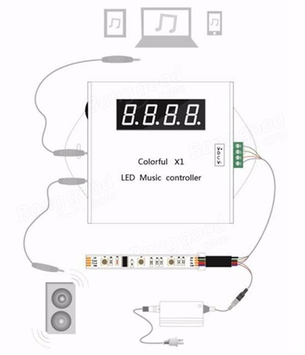 WS2811/WS2812B/USC1903 LED Digital Music Controller with