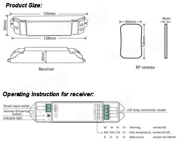 Mini M3-3A LED RGB Receiver Controller + M7 RF Wireless