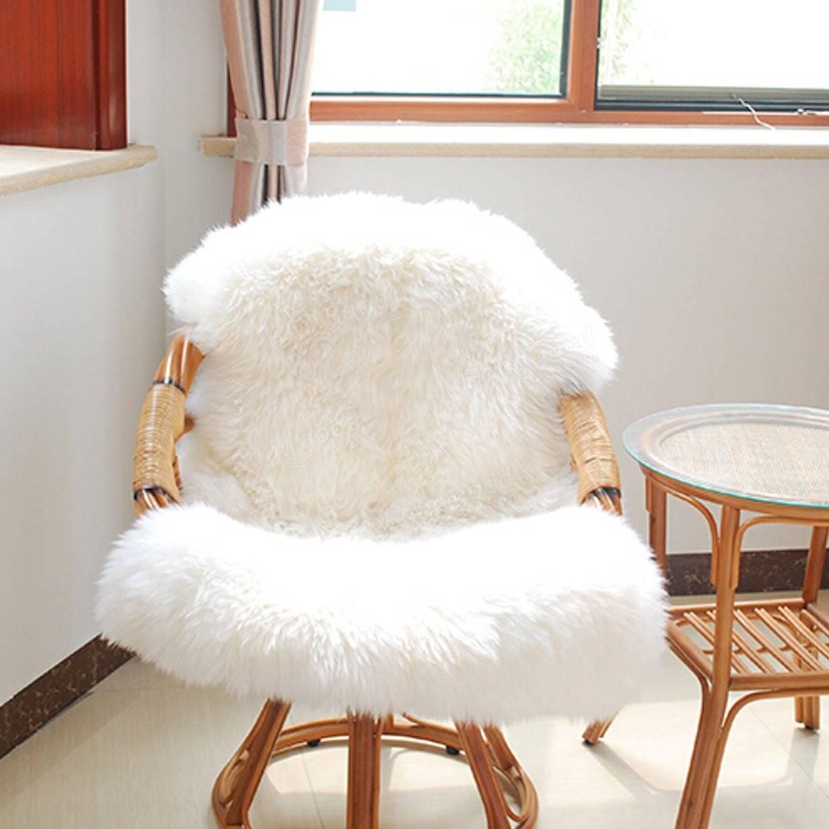 white fluffy desk chair ijoy massage soft shaggy living room floor carpet cover