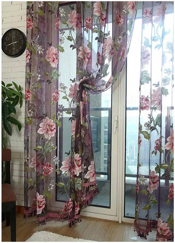 100x200cm Flowers Printed Sheer Window Curtains Tulle Door