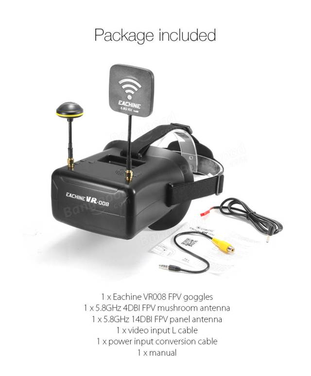 Eachine VR008 Duo Antennas 4.3 Inch 5.8G 40CH Raceband FPV Goggles Auto Searching