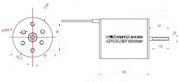 Racerstar 2430 Motor Brushless Waterproof Sensorless 8200