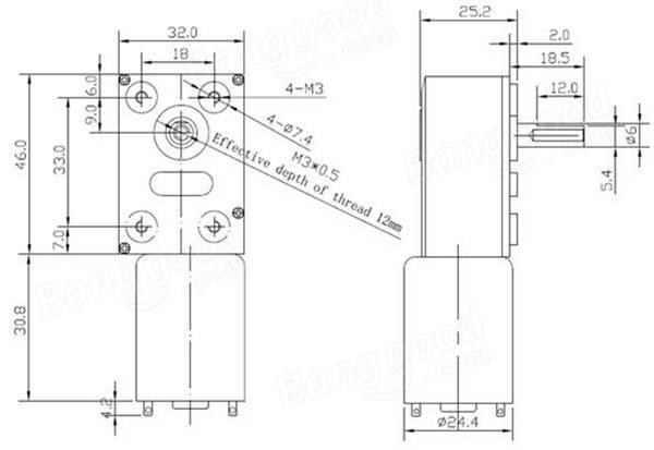 GM4632-370 DC 12V 30RPM High torque Turbo Encoder Motor