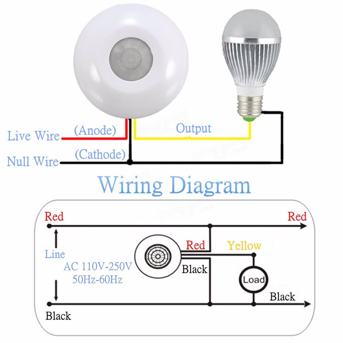 pir motion sensor wiring diagram electric brake 360° infrared human body induction switch detector for ceiling lamp sale ...