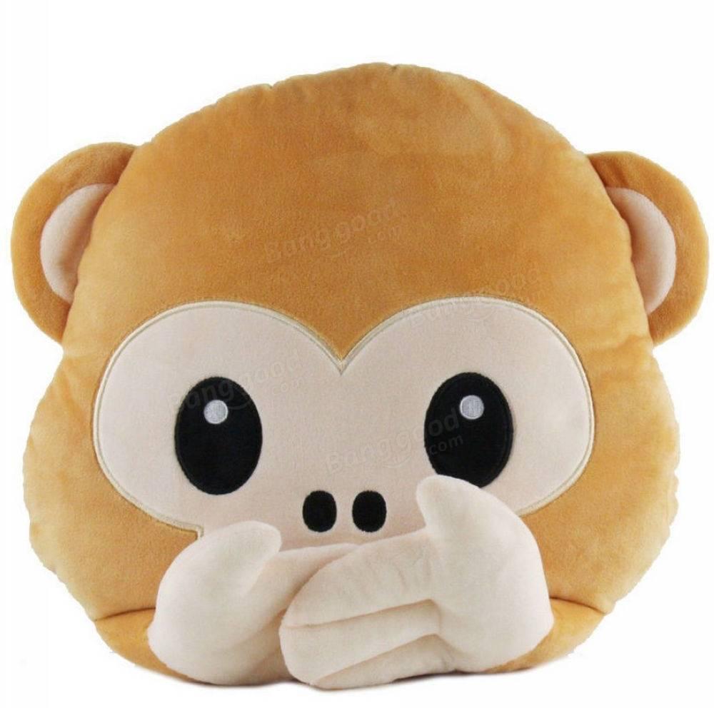 40cm Lovely Emoji Monkey Throw Pillow Plush Stuffed Cushion Office Home Sofa Decoration Gift at