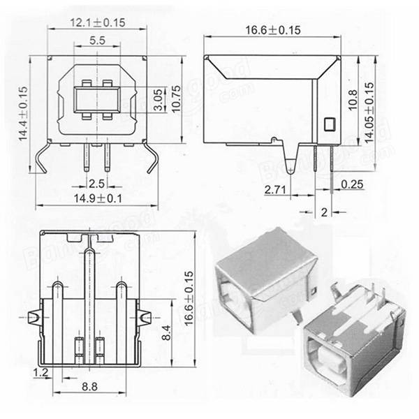 USB Type B Female Right Angle Port Connector Socket PCB