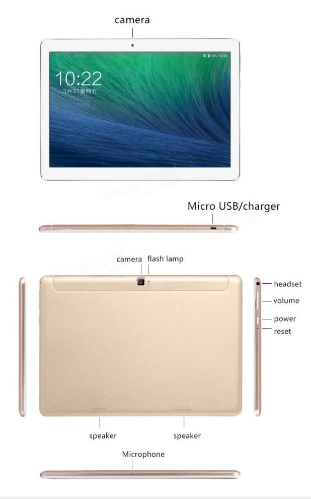 Original Box VOYO I8 Pro Octa Core 3G RAM 64G ROM 10.1 Inch Android 6.0 Dual 4G Tablet PC Rose Gold