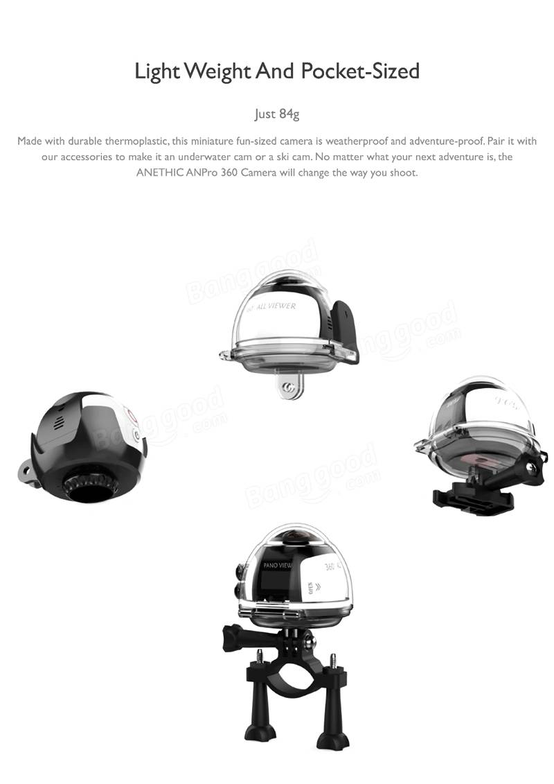 360° Mini WiFi Panoramic Video Camera 2448P 30fps 16MP