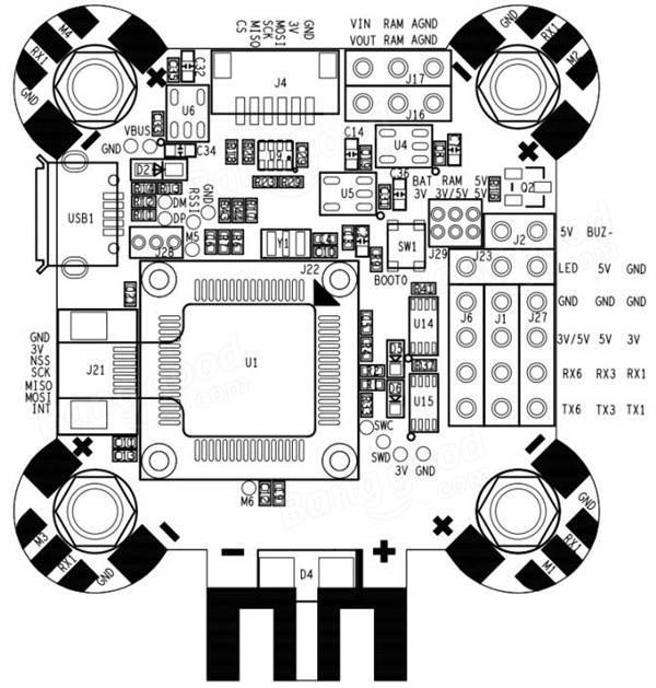 30.5x30.5mm Omnibus F4 Pro Corner Flight Controller AIO
