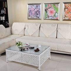 Quilted Embroidery Sectional Sofa Couch Slipcovers Furniture Protector Cotton Chocolate Brown Leather Embroidered Cushion