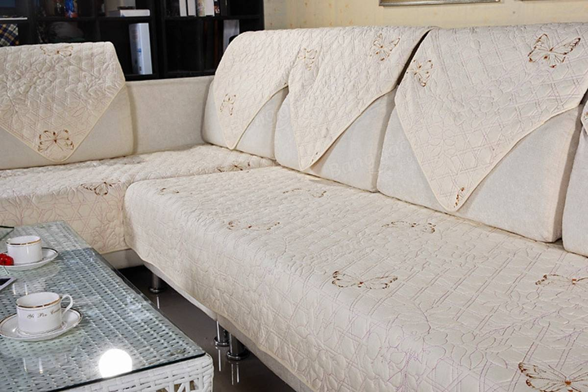 quilted embroidery sectional sofa couch slipcovers furniture protector cotton tuscany brown leather embroidered cushion