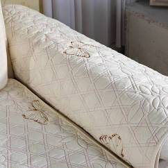 Quilted Embroidery Sectional Sofa Couch Slipcovers Furniture Protector Cotton Sherrill Sofas Embroidered Cushion
