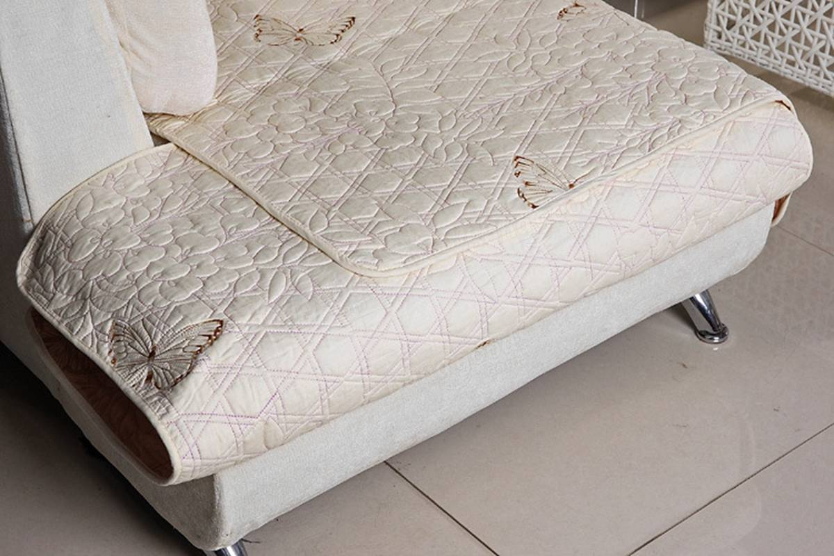 quilted embroidery sectional sofa couch slipcovers furniture protector cotton antique upholstered sofas embroidered cushion
