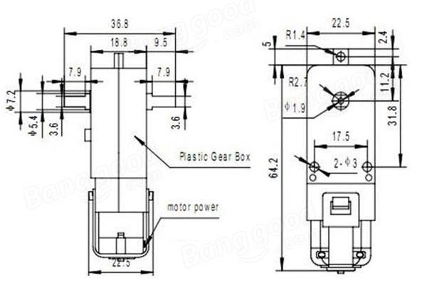 5Pcs DC 3V-6V Dual Axis Gear Reducer Motor For Arduino