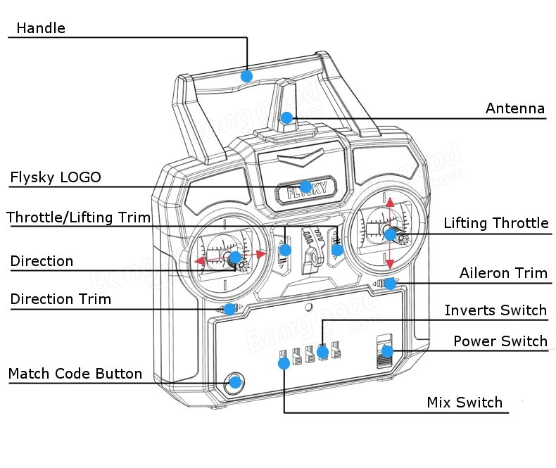 FlySky FS-i4 2.4G 4CH AFHDS Transmitter With FS-A6