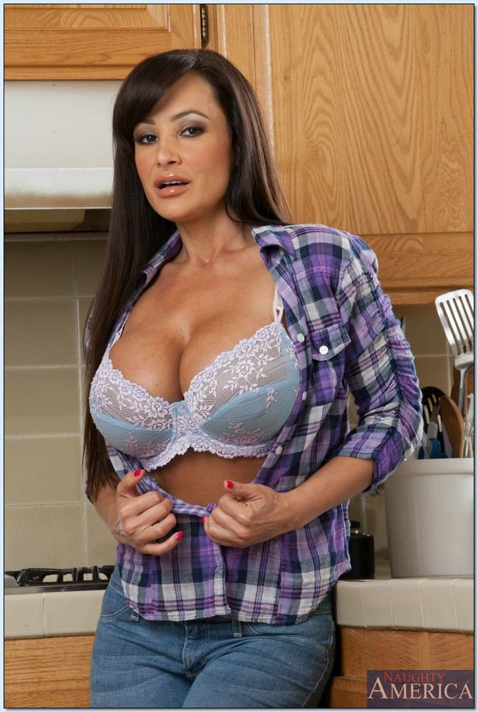 Lisa Ann gets banged after stripping naked in the kitchen