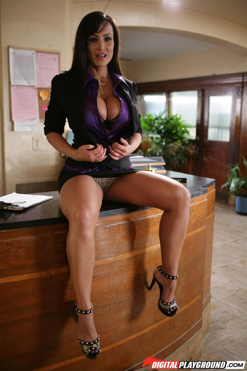 Lisa Ann busty receptionist rides cock on her desk