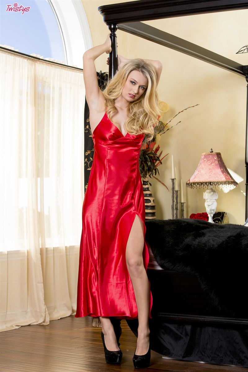 Natalia Starr strips off her red dress in the bedroom Twistys  16 Pictures