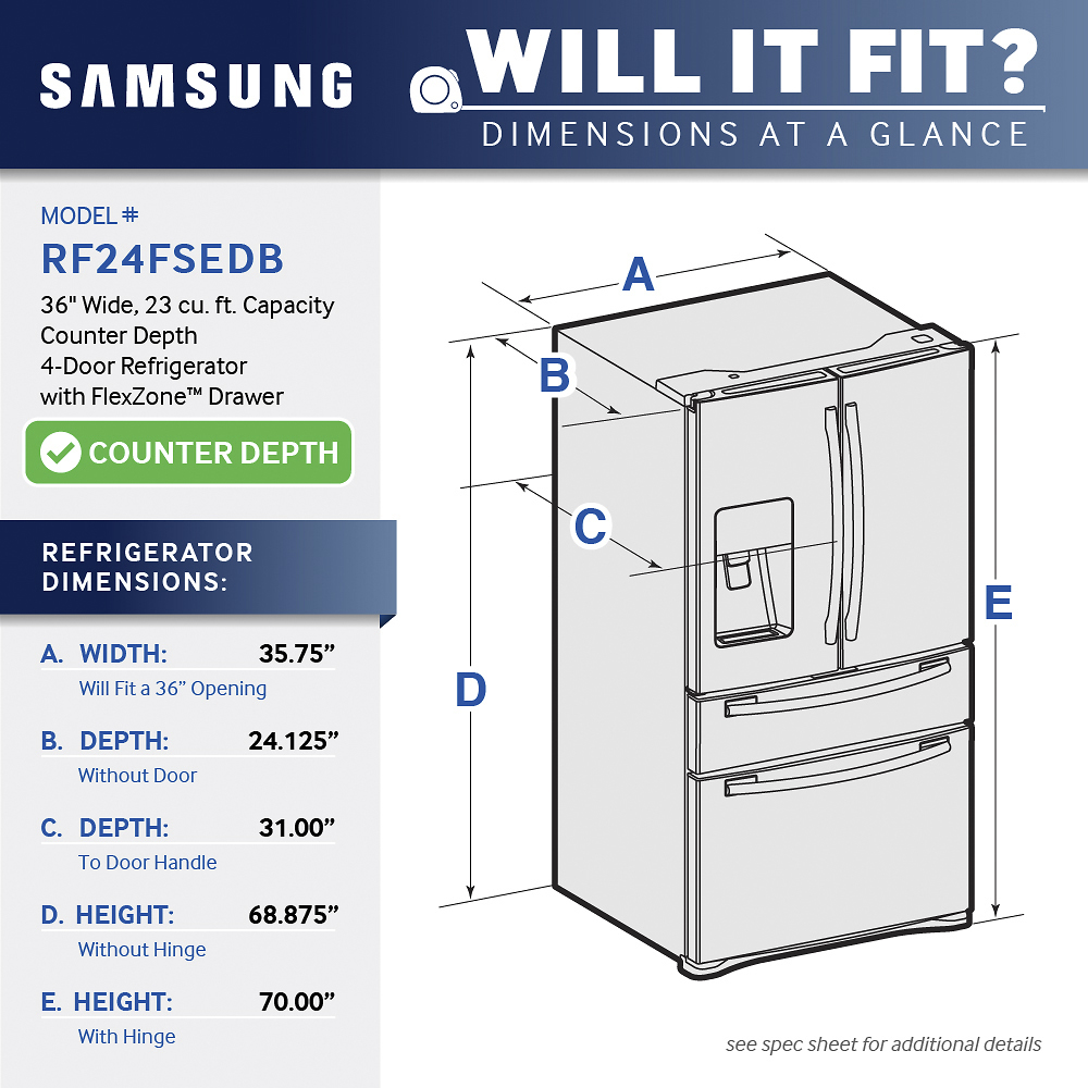 hight resolution of samsung 22 6 cu ft counter depth 4 door french door refrigerator with thru the door ice and water stainless steel at pacific sales