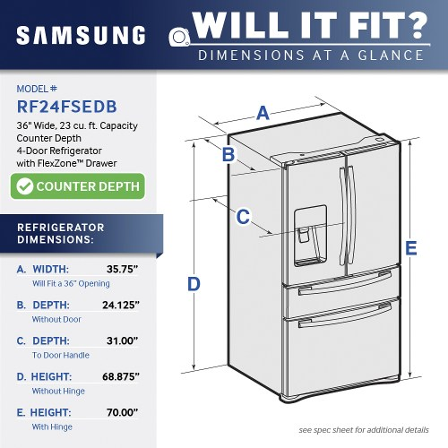 small resolution of samsung 22 6 cu ft counter depth 4 door french door refrigerator with thru the door ice and water stainless steel at pacific sales