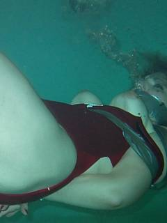 tied to weight underwater