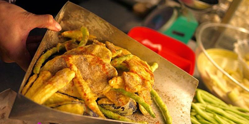 【台中環中夜市】柯記全素食鮮炸杏鮑菇與蔬菜天婦羅