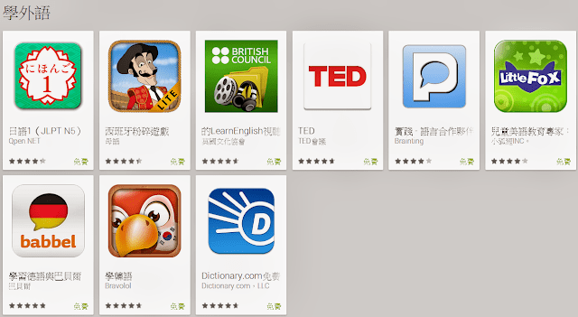【Google play】8款免費學外語app