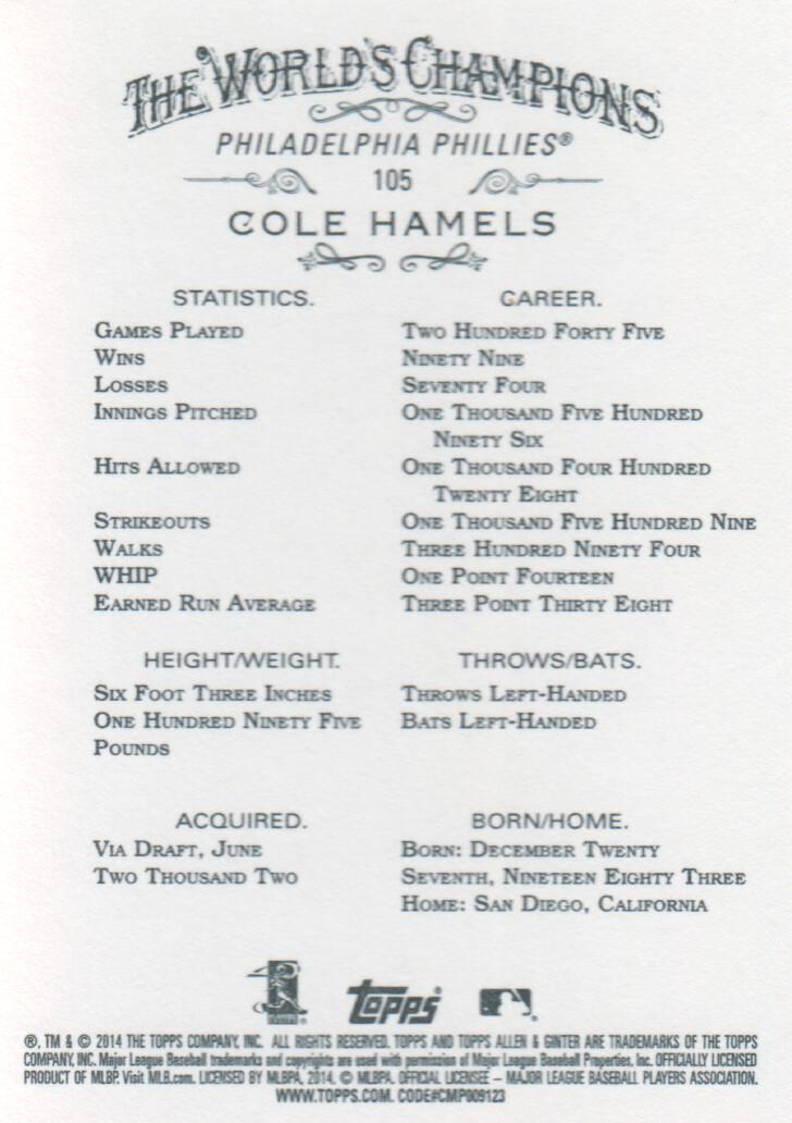 2014 Topps Allen & Ginter Baseball #105 Cole Hamels