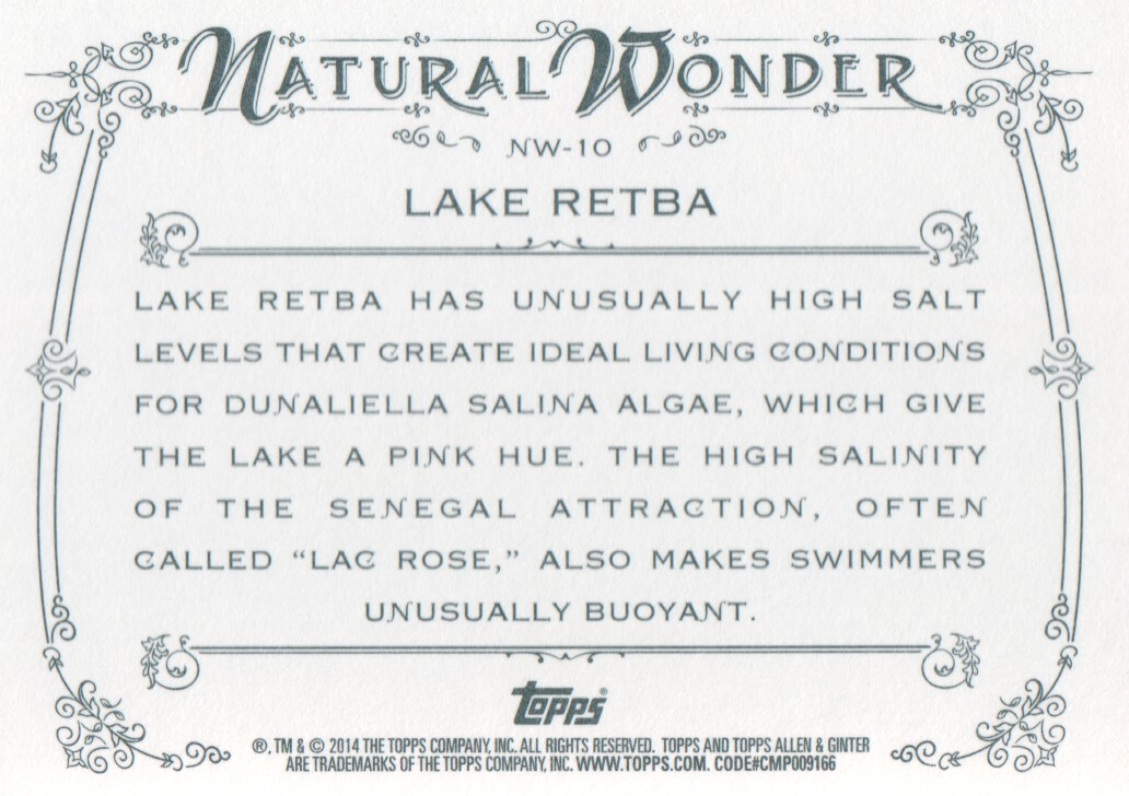 2014 Topps Allen & Ginter Natural Wonders #NW-10 Lake