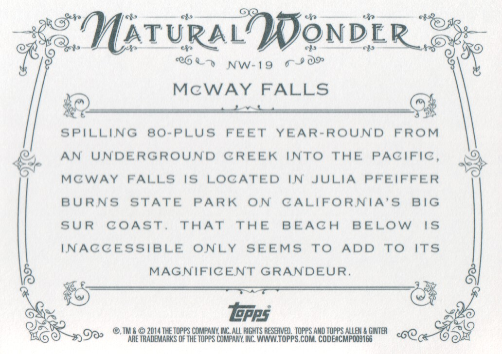 2014 Topps Allen & Ginter Natural Wonders #NW-19 McWay