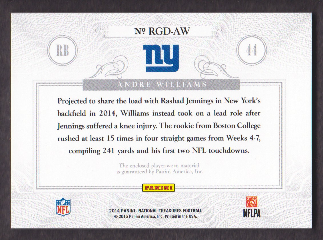 2014 National Treasures Rookie NFL Gear Dual Prime #RGD-AW