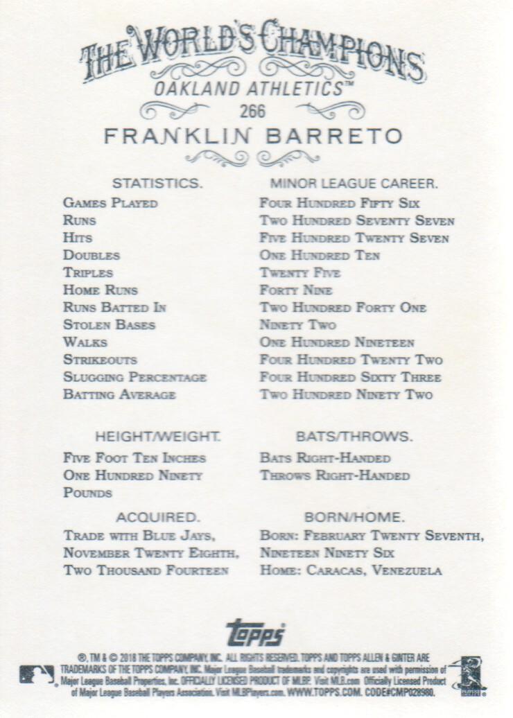 2018 Topps Allen & Ginter #266 Franklin Barreto Oakland