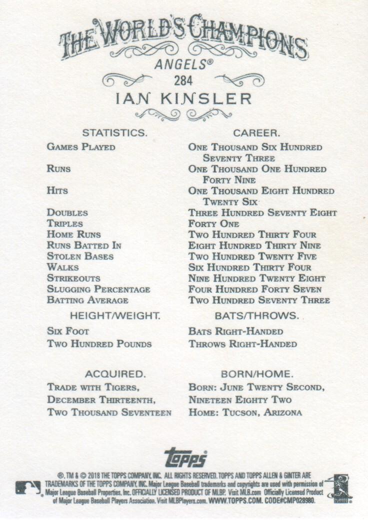 2018 Topps Allen & Ginter X Baseball #284 Ian Kinsler