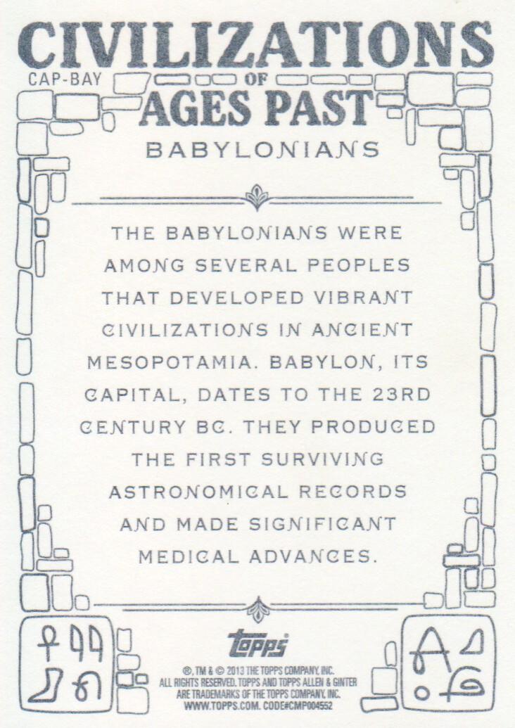 2013 Topps Allen & Ginter Baseball Civilizations of Past #