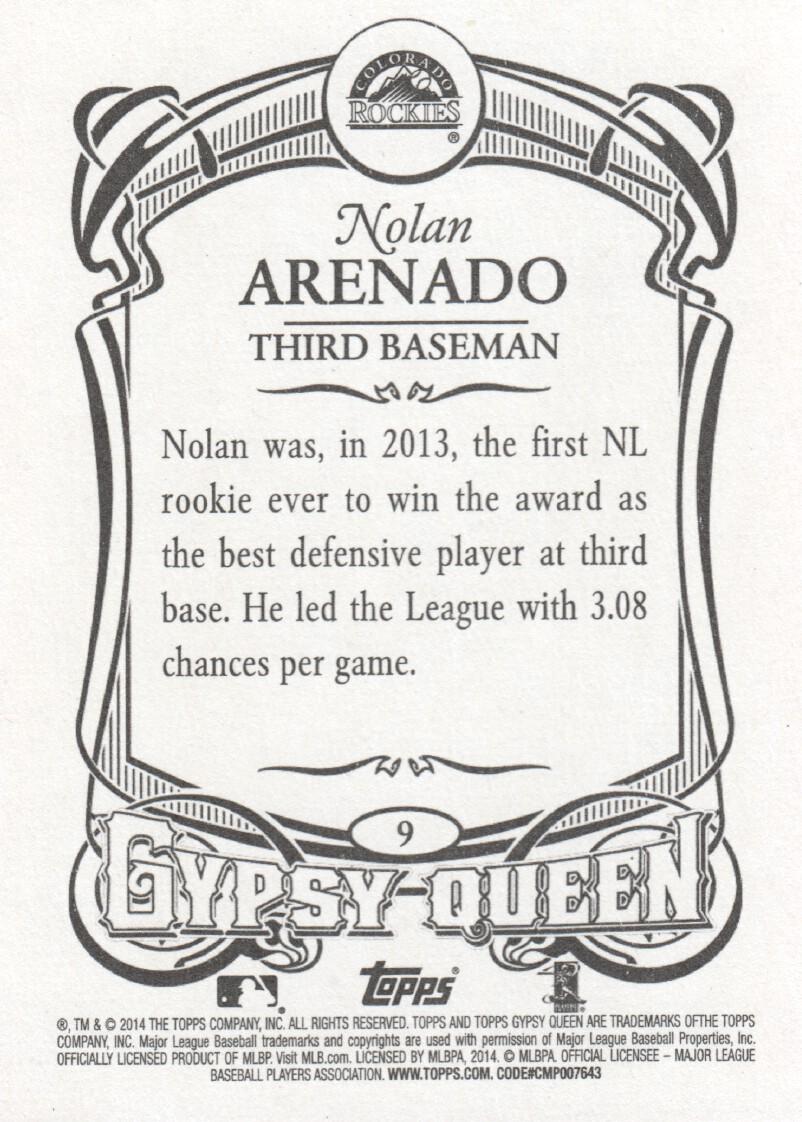 2014 Topps Gypsy Queen Baseball #9 Nolan Arenado Colorado