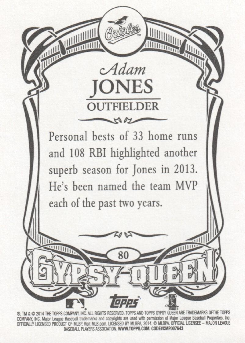 2014 Topps Gypsy Queen Baseball #80 Adam Jones Baltimore
